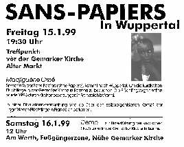Plakat zur Diskussion mit Madiguene Cisse, der Sprecherin von Sans Papiers