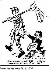 Karrikatur über die WZ (Westdeutsche Zeitung) vom 14.2.1931