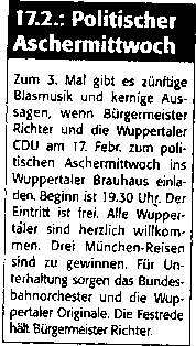 Zeitungsartikel: Richter - politischer Aschermittwoch der Wuppertaler CDU am 17.2.1999